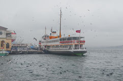 Istanbul, Kadikoy. Foggy morning, waiting to ferry passengers an Royalty Free Stock Images