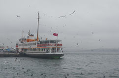 Istanbul, Kadikoy. Foggy morning, waiting to ferry passengers an Royalty Free Stock Photography