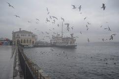 istanbul kadikoy Mgłowy ranek, czeka przewozić pasażerów Zdjęcie Stock