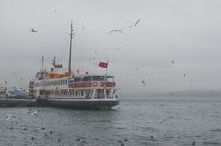 istanbul kadikoy Mgłowy ranek, czeka przewozić pasażerów Fotografia Royalty Free