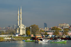 Istanbul, Kadikoy pier. Protocol Haydarpasa Mosque stock photos