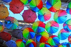 Istanbul, Karakoy / Turkey - 04.04.2019: Colorful Umbrellas Decorated top of the Karakoy Street in the Istanbul, Street Decoration stock photography