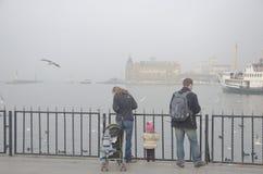 Istanbul-Kehlschwierigkeiten setzen Fahrt im Nebel über Stockbild
