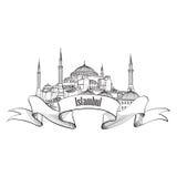 Istanbul label. Travel Turey symbol. landmark Hagia S. Istanbul architectural label. Travel Turey symbol. Hand drawn landmark building Hagia Sophia cathedral Royalty Free Stock Image