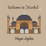 Istanbul landmark Hagia Sophia. Postcard with famous Istanbul landmark Hagia Sophia Stock Illustration