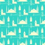 İstanbul landmark seamless pattern Stock Image