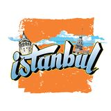 Istanbul letters with orange background vector illustration
