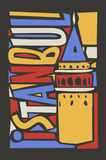 Istanbul linoleum style colorful city illustration Royalty Free Stock Images
