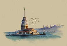 Istanbul, Maiden's Tower, Turkey. Watercolor sketch. graphics on old paper Stock Photo