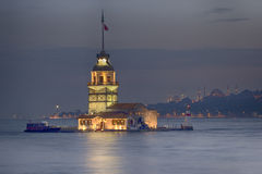 Istanbul Maiden Tower from the east in sunset. In the distance a Stock Image
