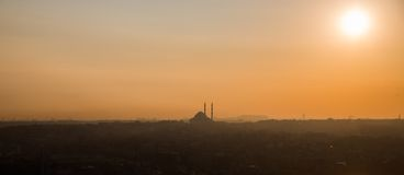 Istanbul mosque at sunset, high contrast profile. Profile view of mosque at sunset, high contrast, Istanbul royalty free stock photography