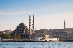 Istanbul New Mosque and Ships, Turkey Stock Images