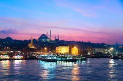 Istanbul by Night. Twilight by the Bosphorous in Istanbul Royalty Free Stock Image