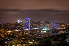 Istanbul night cityscape. Bosphorus bridge Stock Photo