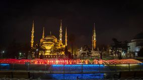 Istanbul. the night. Fountain. Blue Mosque. Istanbul, night, asia, minaret mosque tourism turkey blue building famous fountain stock video