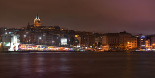 Istanbul night illuminated by the lights from the beach restaurants / Golden horn. This beautiful cityscape was taken during a night walk in Istanbul Royalty Free Stock Photo