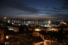 A night view of the Istanbul, Turkey stock photos