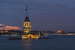 Istanbul by Night. Maiden's Tower Stock Photos