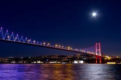 Istanbul Night Scene. Night scene of Istanbul Bosporus Bridge Stock Photography