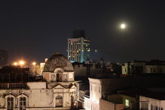 Istanbul at night. Turkish moon by the Itsanbul main terraces. One of the most beautiful sceneries at night Stock Image