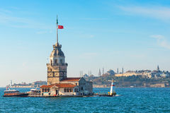 ISTANBUL - NOV, 21: Maidens Tower (Kizkulesi) located in the mid Royalty Free Stock Images