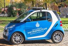 ISTANBUL - NOV, 23: A small blue police car for the metro police Stock Photos