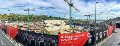 ISTANBUL - OCTOBER 23, 2014: Panoramic view of construction site Stock Photos