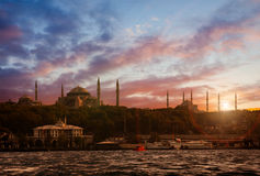 Istanbul Old City. Sunset over Istanbul silhouette with mosques Stock Photography