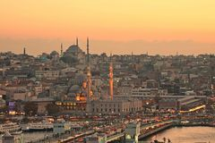 Istanbul Old city and galata bridge Royalty Free Stock Image