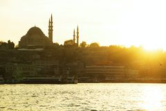 Istanbul old city panorama with mosque at sunset Royalty Free Stock Photos