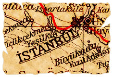 Istanbul old map. Istanbul, Turkey on an old torn map from 1949, isolated. Part of the old map series Stock Photo