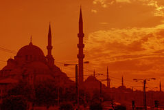 Istanbul Orange Skyline Royalty Free Stock Photos