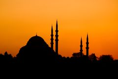 istanbul orientalisk solnedgång Fotografering för Bildbyråer