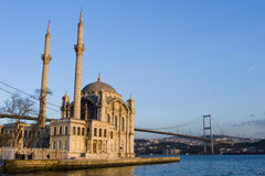 Istanbul Ortakoy. Ortakoy Mosque and The Bosphorus Bridge in Istanbul Turkey Royalty Free Stock Photography