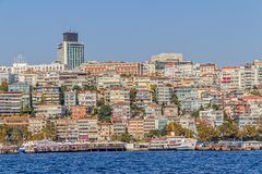 Istanbul Ortakoy district. ISTANBUL, TURKEY - SEPTEMBER 29, 2013: View of the Ortakoy residental buildings and port sailing Bosporus Stock Images