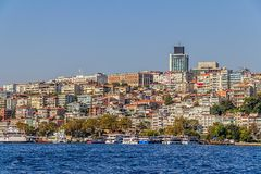 Istanbul Ortakoy district. ISTANBUL, TURKEY - SEPTEMBER 29, 2013: View of the Ortakoy residental buildings sailing Bosporus Stock Photo