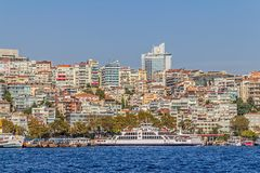 Istanbul Ortakoy district. ISTANBUL, TURKEY - SEPTEMBER 29, 2013: View of the Ortakoy residental buildings sailing Bosporus Royalty Free Stock Photo