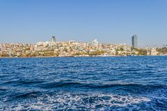 Istanbul Ortakoy district. ISTANBUL, TURKEY - SEPTEMBER 29, 2013: View of the Ortakoy district sailing Bosporus Royalty Free Stock Image