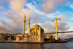 Istanbul Ortakoy Mosque and Bosphorus Bridge stock images