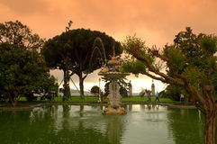 Istanbul palace garden and Bosphorus view Royalty Free Stock Image