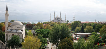 Istanbul Panorama. High resolution (32 Mp) panoramic view of the Blue Mosque and Sultanahmet, Istanbul, Turkey on a beautiful autumn morning Stock Photography