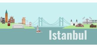 istanbul panorama vektor illustrationer