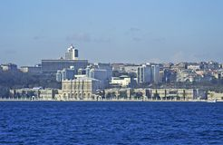 Istanbul Panorama and Dolmabahce Palace Stock Image