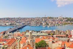 Istanbul panorama from Galata tower during summer sunny day. Istanbul, Turkey. royalty free stock image