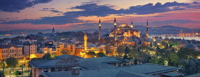 Istanbul Panorama. Panoramic image of Hagia Sophia in Istanbul, Turkey during sunrise Royalty Free Stock Photos