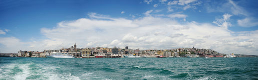 Istanbul Panorama. A view from the historic peninsula and Istanbul from Galata port Stock Photo