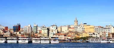 Istanbul in panoramic Royalty Free Stock Photos