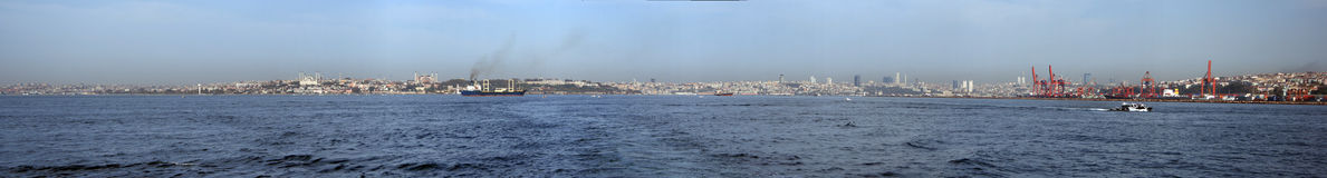 Istanbul panoramic. Panoramic view of Istanbul and Bosphorus royalty free stock photos