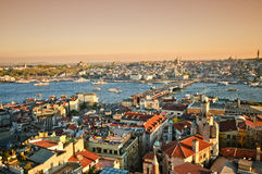 Istanbul Panoramic Sunset Stock Image
