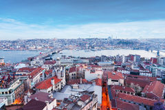 Istanbul panoramic view at evening. Stock Photography